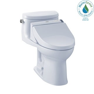 Toto Connect+ Kit Supreme II One-Piece Elongated 1.28 GPF Toilet and Washlet C200 Bidet Seat MW6342044CEFG#01 Cotton White