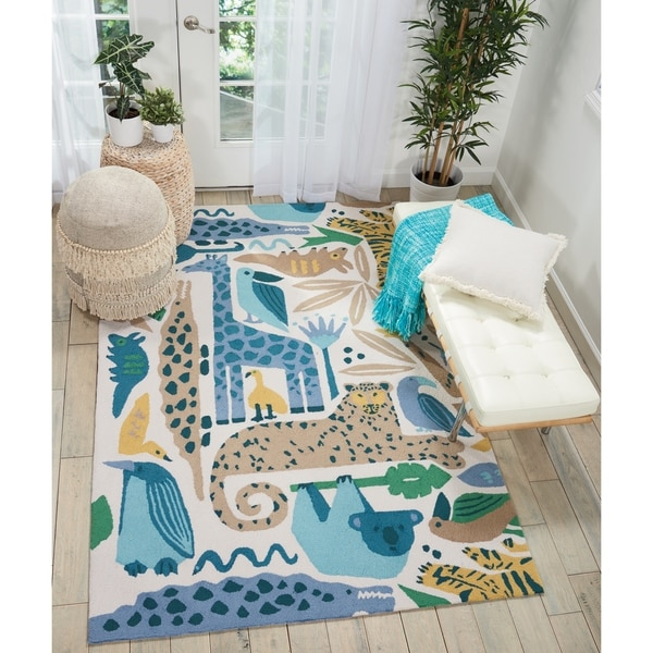 Shop Nourison Hand Hooked Blue Zoo Animals Kids Rug