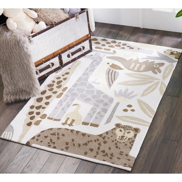 Shop Nourison Hand Hooked Grey Zoo Animals Kids Rug