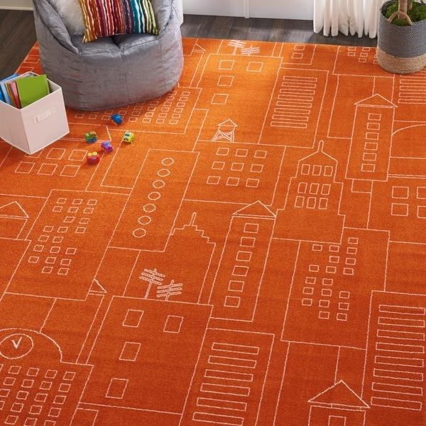 "Nourison Miles Orange City Sketch Kids Rug - 5'2"" x 7'"