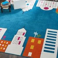 Nourison Miles Blue Cityscape Kids Rug - 5'2 x 7'