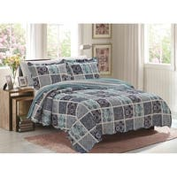Jessica 3-Piece Glory Home Designs Reversible Quilt & Shams - Blue Geo