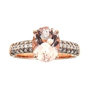 14K Rose Gold Morganite and Diamond Ring by Anika And August - White