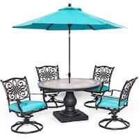 Hanover Monaco 5-Piece Dining Set in Blue with 4 Cushioned Dining Chairs, a 51 In. Tile-Top Table, and a 9 Ft. Table Umbrella