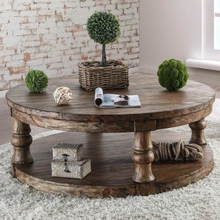 Furniture of America Bae Rustic Solid Wood Round Coffee Table