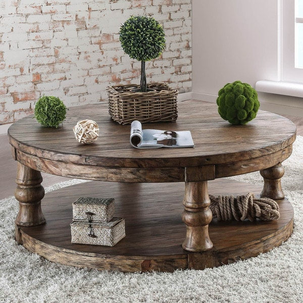 Rustic Solid Wood Round Coffee Table