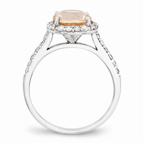 Versil Cheryl M Sterling Silver CZ and Simulated Morganite Ring
