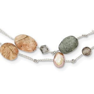 Versil Labradorite/Red Moonstone/Freshwater Cultured Pearl/Crystal Necklace