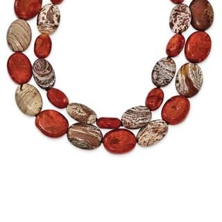 Versil Sterling Silver Carnelian/Reconstituted Coral/Red Zebra Jasper Necklace
