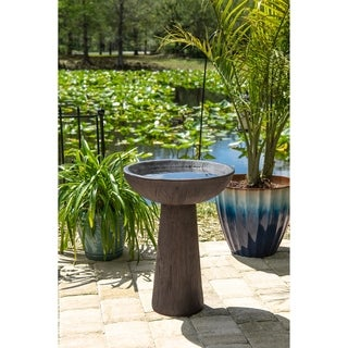 "Elvin 21"" Outdoor Bird Bath - Wood Grain"