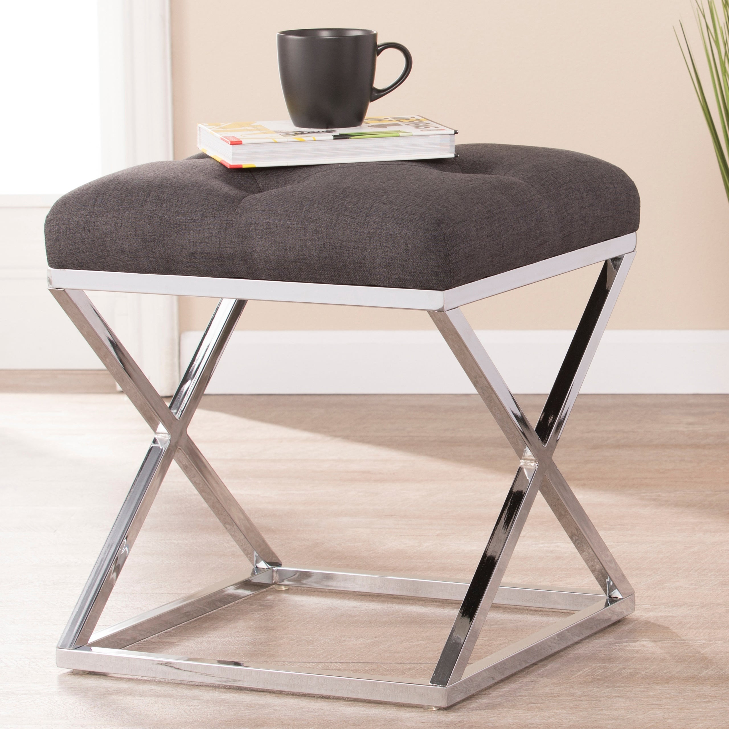Chair Back Height: Backless · Harper Blvd Kinsley Gray With Chrome  Upholstered Stool