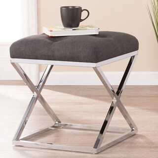 Harper Blvd Kinsley Gray with Chrome Upholstered Stool
