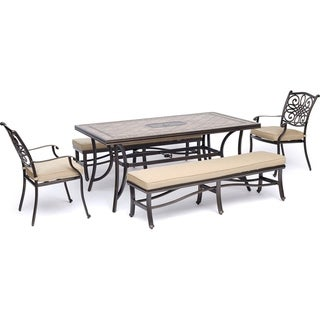 "Hanover Monaco 5-Piece Dining Set in Tan with 2 Dining Chairs, 2 Cushioned Benches, and a 40"" x 68"" Tile-Top Table"