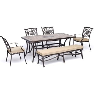 """Hanover Monaco 6-Piece Dining Set in Tan with Four Dining Chairs, a Cushioned Bench, and a 40"""" x 68"""" Tile-Top Table"""