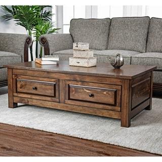 Furniture of America Agri Rustic Walnut Solid Wood Coffee Table