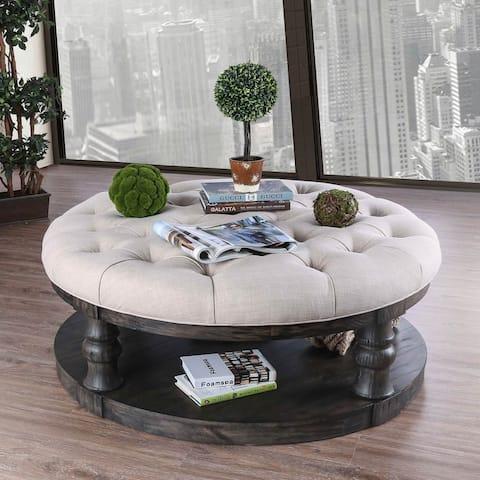 Furniture of America Bae Rustic 48-inch Fabric 1-shelf Coffee Table