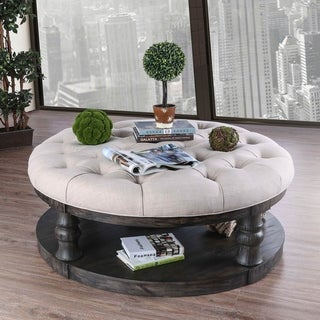 Furniture of America Patterson Rustic Linen Tufted Ottoman Coffee Table