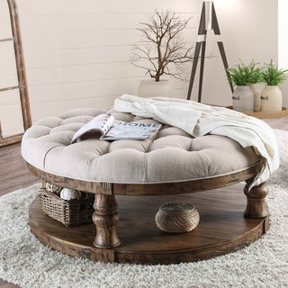Furniture of America Bae Rustic Linen Fabric Tufted Coffee Table