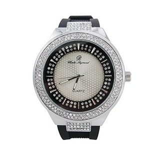Rapper's Hip Hop Rubber Band Watch Double Dial Iced Out Diamond Look Silver