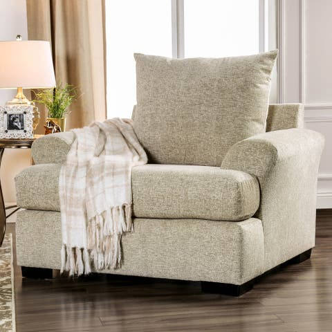 Furniture of America Lorz Contemporary Beige Fabric Padded Armchair