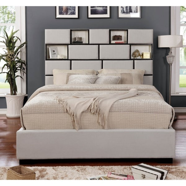 Furniture of America Dopp Contemporary Beige Fabric Platform Bed