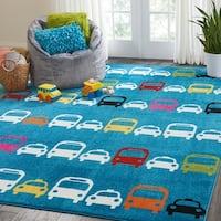 Nourison Miles Blue Cars Kids Rug - 4' x 6'