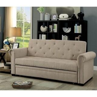 Furniture of America Lionel Beige Nailhead Futon Sofa Bed