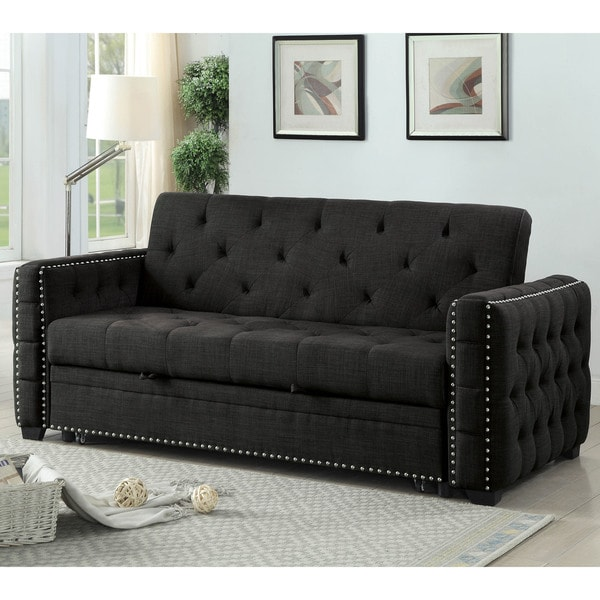 Furniture Of America Lionel Grey Tufted Futon Sofa Bed
