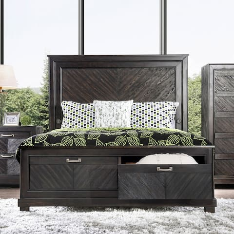 Furniture of America Moso Transitional Espresso Solid Wood Storage Bed