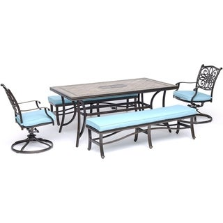 """Hanover Monaco 5-Piece Dining Set in Blue with 2 Swivel Rockers, 2 Cushioned Benches, and a 40"""" x 68"""" Tile-Top Table"""