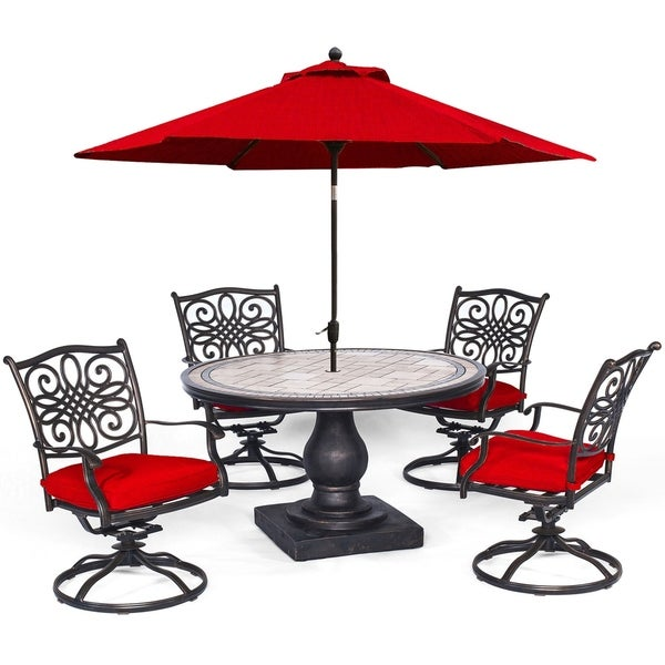 Hanover Monaco 5-Piece Dining Set in Red with 4 Cushioned Dining Chairs, a 51 In. Tile-Top Table, and a 9 Ft. Table Umbrella