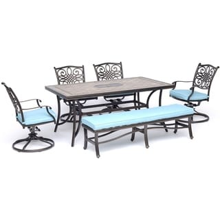"""Hanover Monaco 6-Piece Dining Set in Blue with Four Swivel Rockers, a Cushioned Bench, and a 40"""" x 68"""" Tile-Top Table"""