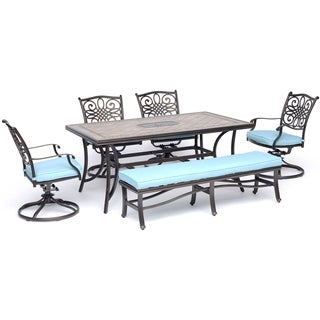 "Hanover Monaco 6-Piece Dining Set in Blue with Four Swivel Rockers, a Cushioned Bench, and a 40"" x 68"" Tile-Top Table"