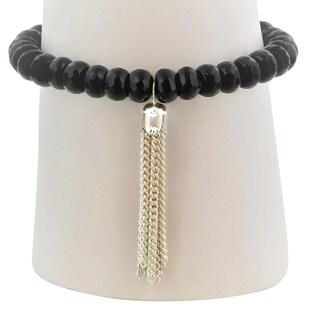 Black Agate Faceted Rondelle Bracelet with Silver Tassel