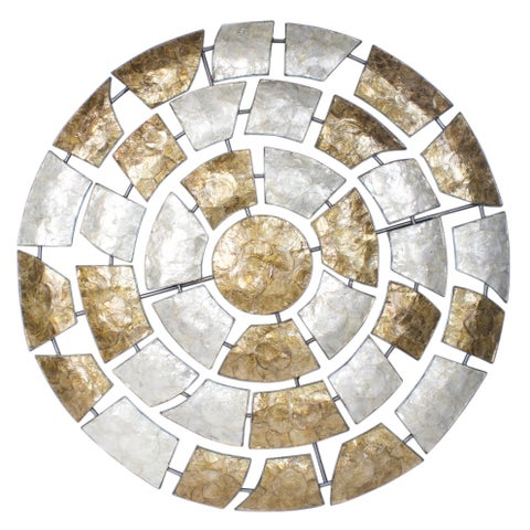 Shelby 40 Inch Round Metal and Capiz Wall Decor