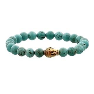 Men's Stabilized Turquoise and Brass Buddha Bracelet - Blue