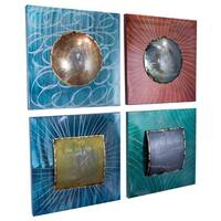 Metro Layered Metallic Shapes on Square Panels- Set of 4