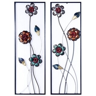 Midnight Garden Buds and Blooms Vertical Wall Panel- Set fo 2
