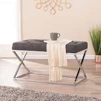 Harper Blvd Kinsley Gray with Chrome Upholstered Bench