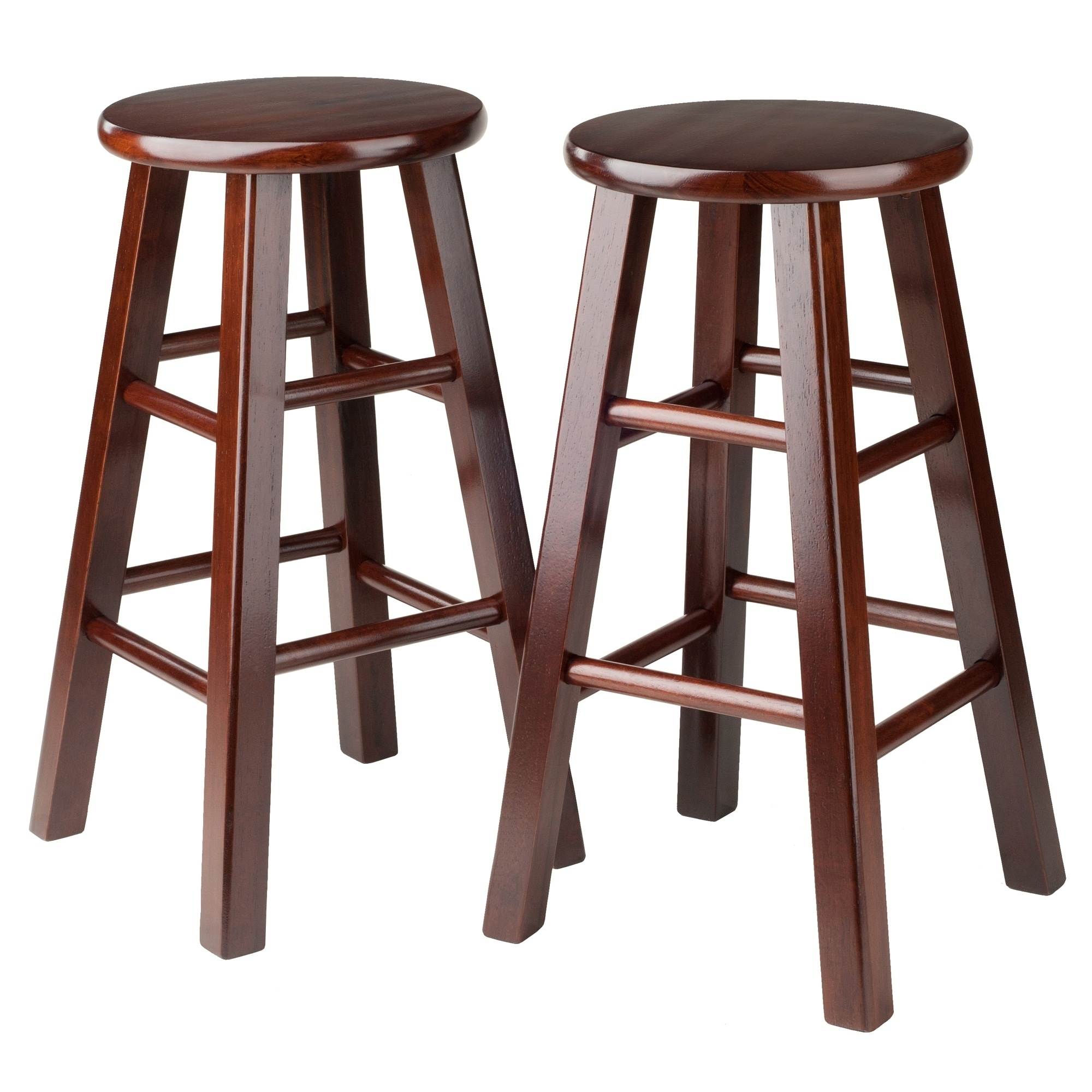 Pacey 2-Pc 24 Bar Stool Set Antique Walnut