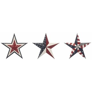 Metal Hanging Patriotic Stars Set of 3