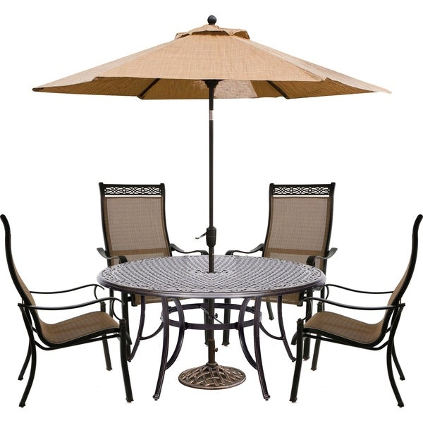 Hanover Manor 5-Piece Outdoor Dining Set with Contoured Dining Chairs, Cast-Top Table, and Umbrella and Stand