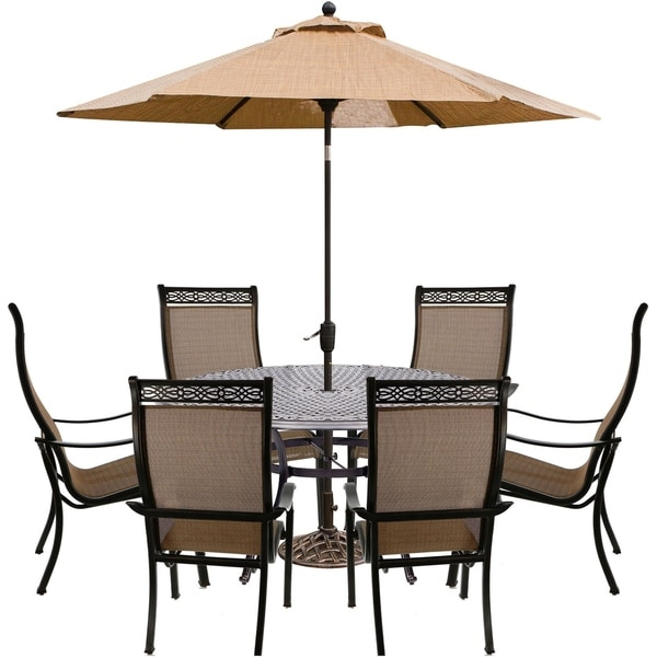 Hanover Manor 7-Piece Dining Set with Dining Chairs, Cast-top Dining Table, and Umbrella with Stand