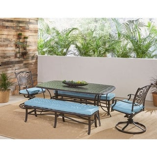 Hanover Traditions 5-Piece Patio Dining Set in Blue with Swivel Rockers, Cushioned Benches, and Cast-Top Dining Table