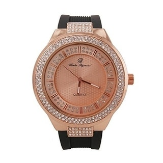 Rapper's Hip Hop Rubber Band Watch Double Dial Iced Out Diamond Look Rose Gold - rose gold