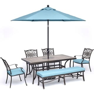 Hanover Monaco 5-Piece Dining Set in Blue with Dining Chairs, Benches, Tile-Top Table, and  Umbrella with Stand