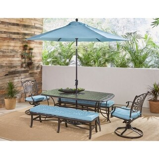 Hanover Traditions 5-Piece Dining Set in Blue with Swivel Rockers, Benches, Cast-Top Table, Umbrella and Stand