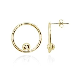 Mondevio Open Circle Beaded Frontal Hoop Stud Earrings in Polished Sterling Silver