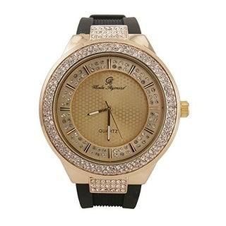 Rapper's Hip Hop Rubber Band Watch with Double Dial Iced Out Diamond Look Watch - Gold