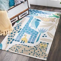 Nourison Hand Hooked Blue Zoo Animals Kids Rug - 3'6 x 5'6'